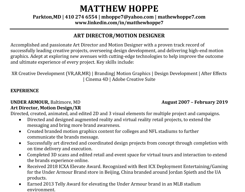 Matthew Hoppe Resume