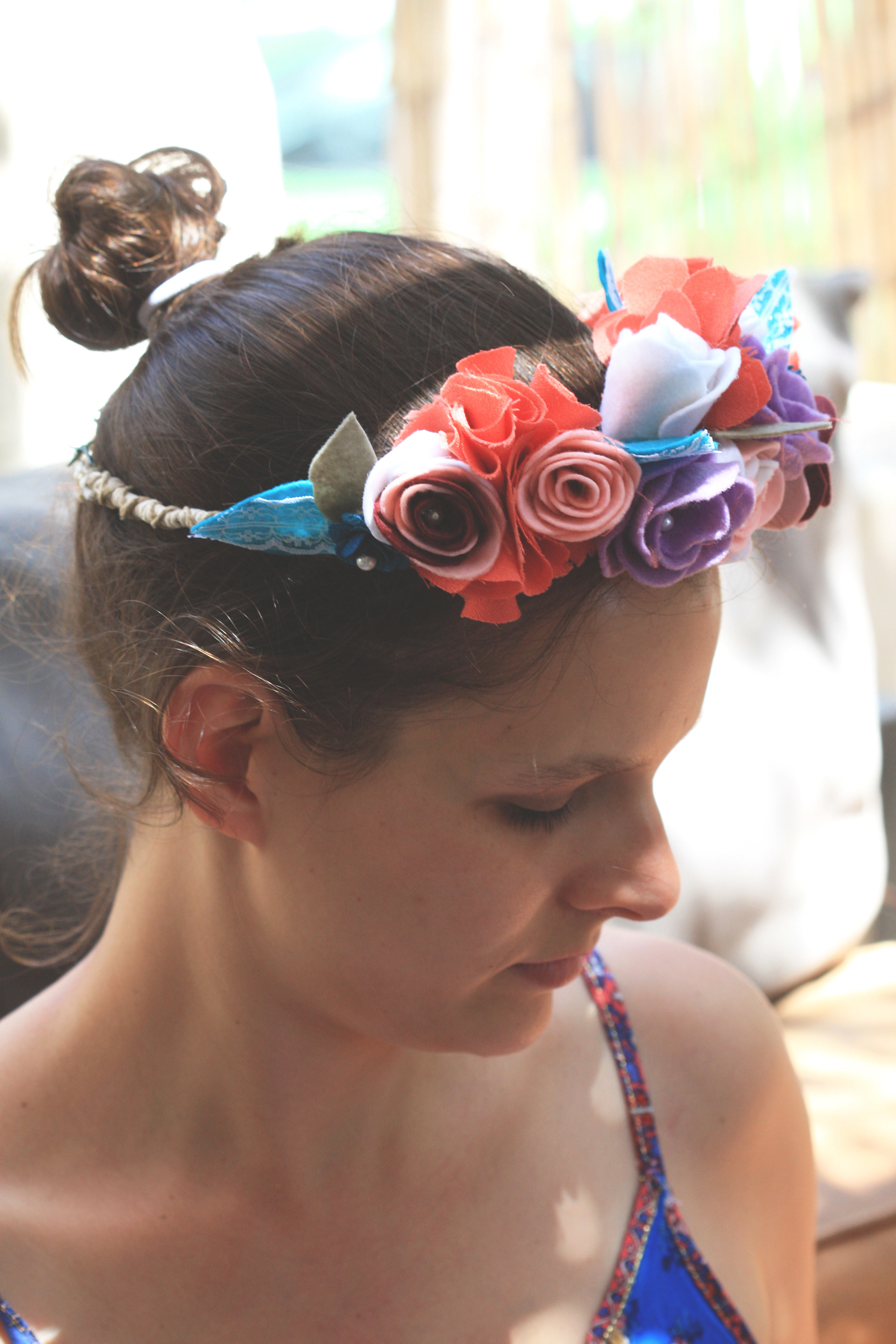 Mijal lebel till 120 individual flower crown to remain for ever a solution for the temporary real flower crown i came of with this idea for textile flowers izmirmasajfo