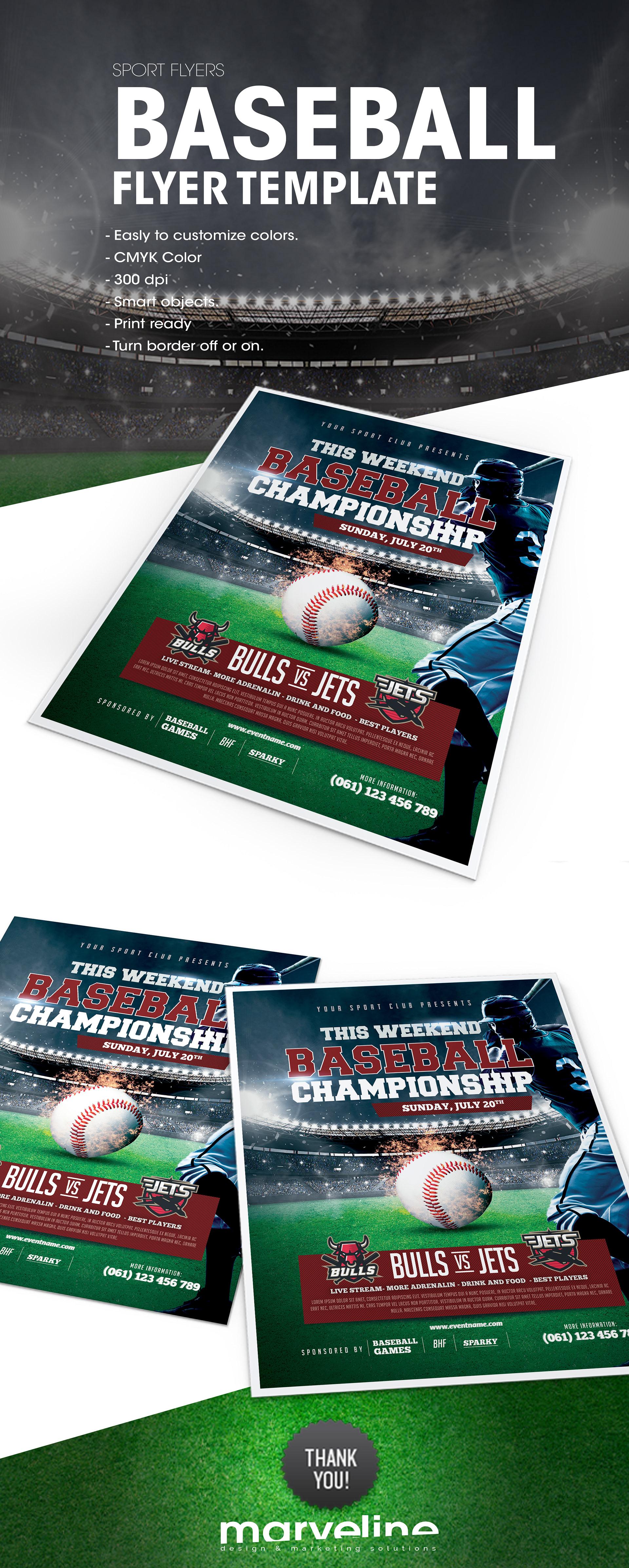 muamer prosic baseball flyer template avliable on envato
