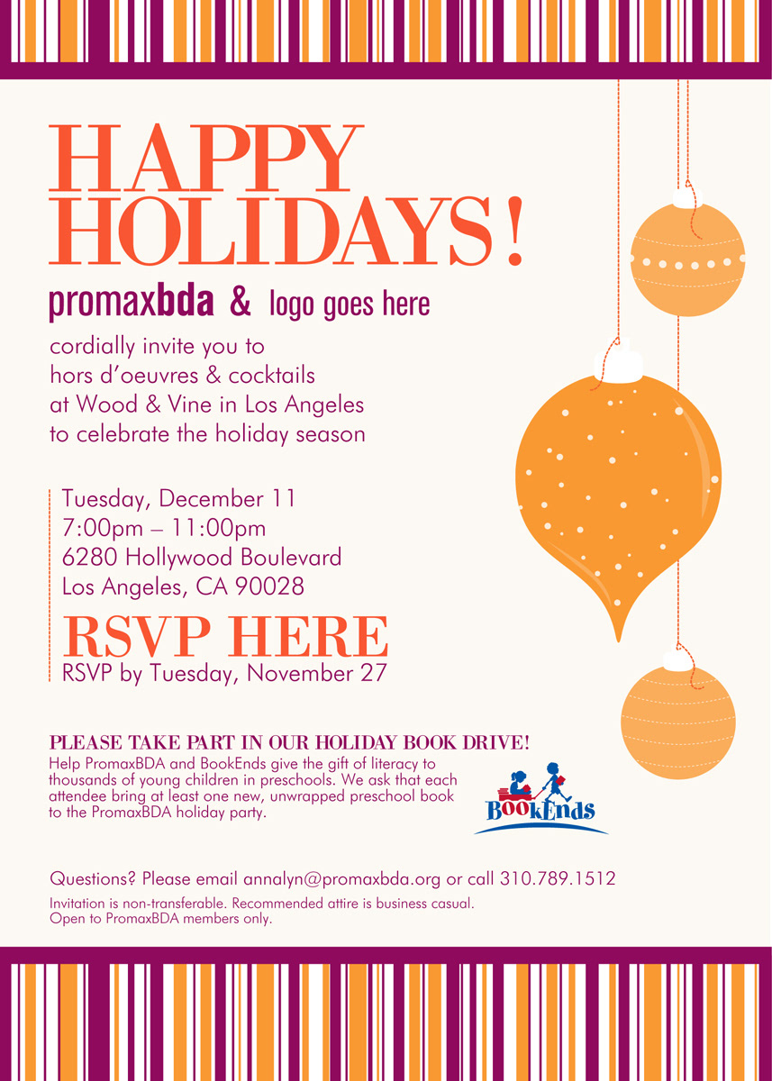 A Few Examples Of Some Email Invites I Created For PromaxBDA Member Holiday Party