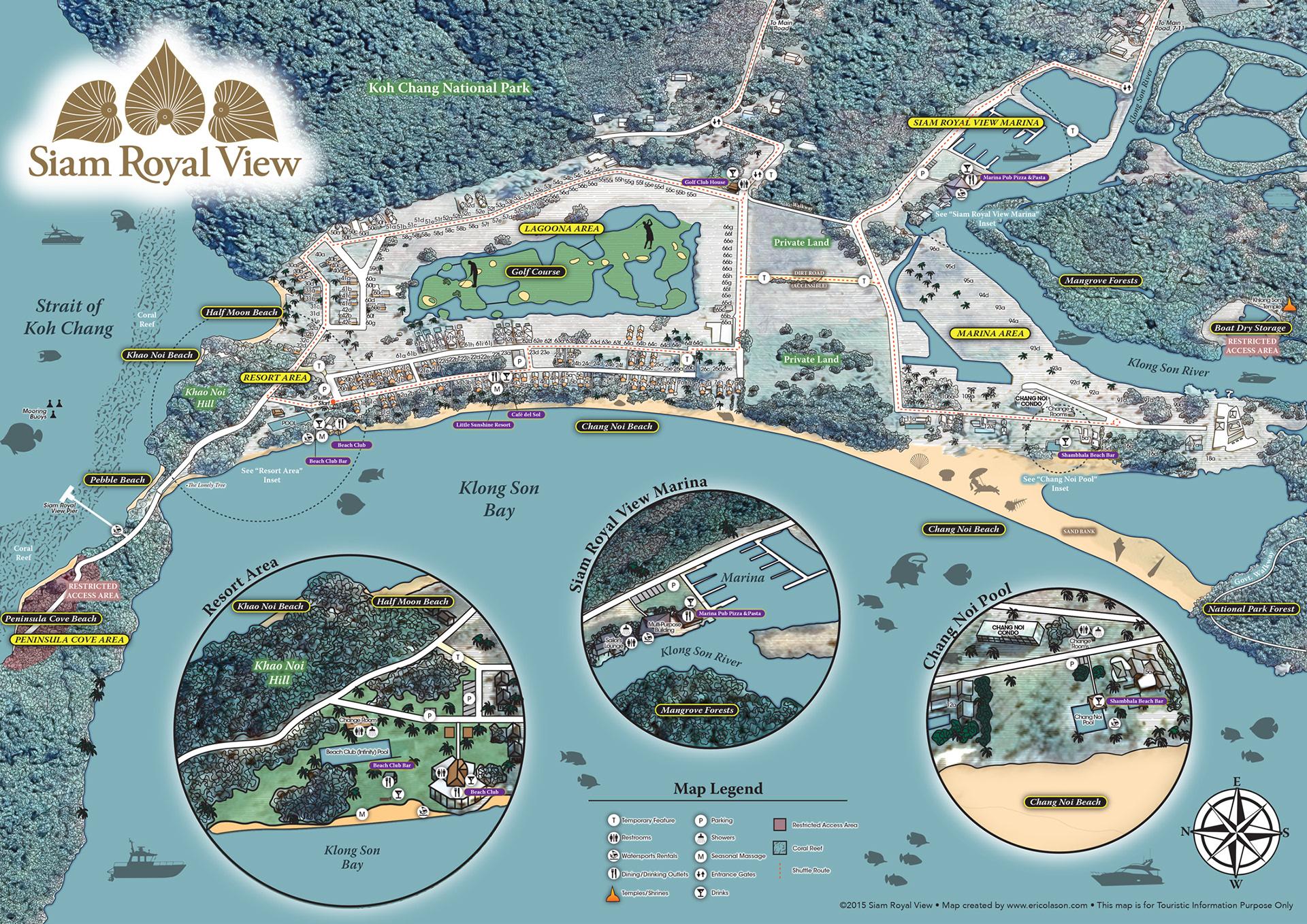 Koh Chang Thailand Map.Eric Olason Mapmaker Cartographic Artist Resort Map Koh