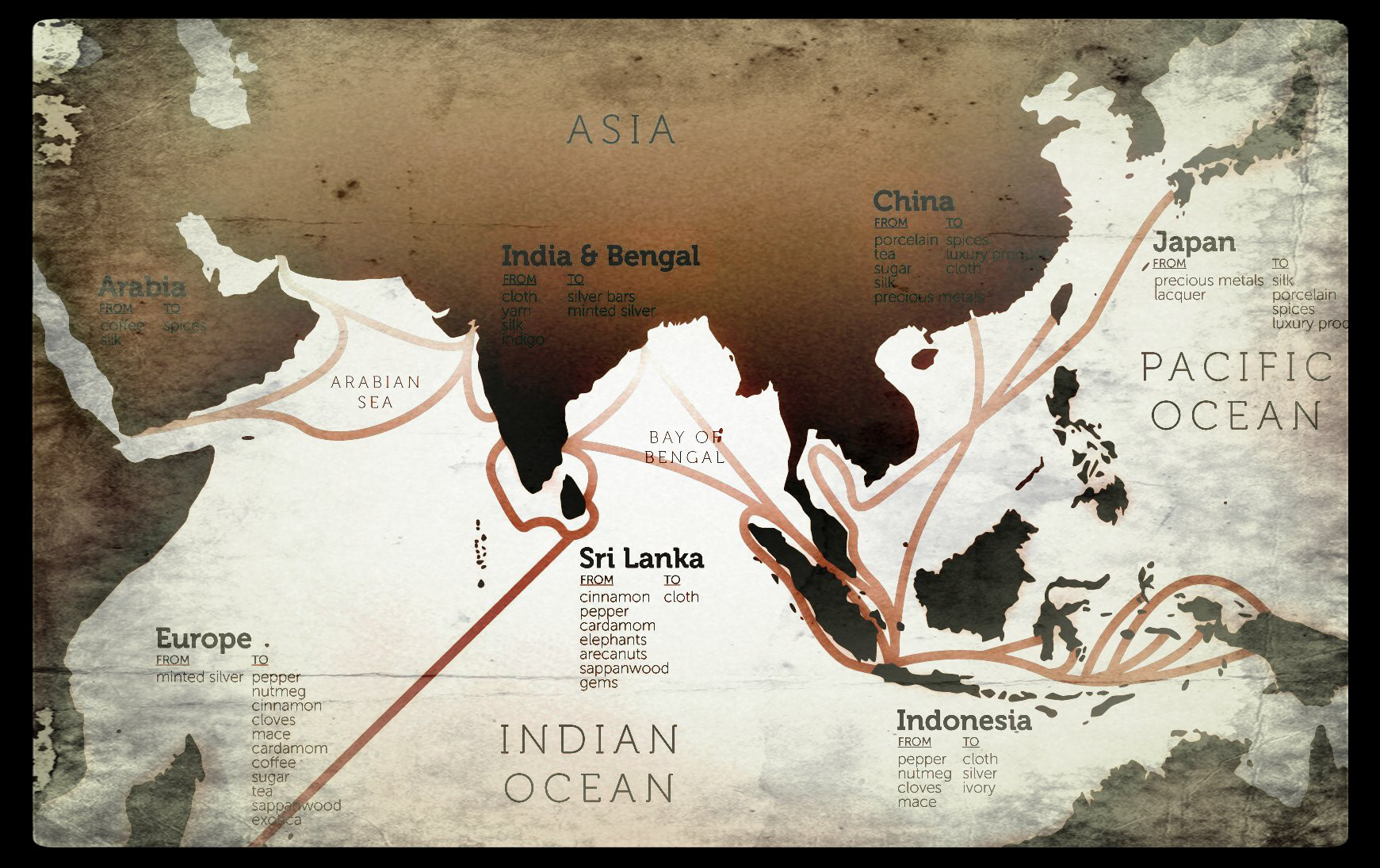 Eric olason mapmaker cartographic artist asian trade routes in single map created for a private military analyst based in sydney australia to be used for inclusion with written works and presentations gumiabroncs Images