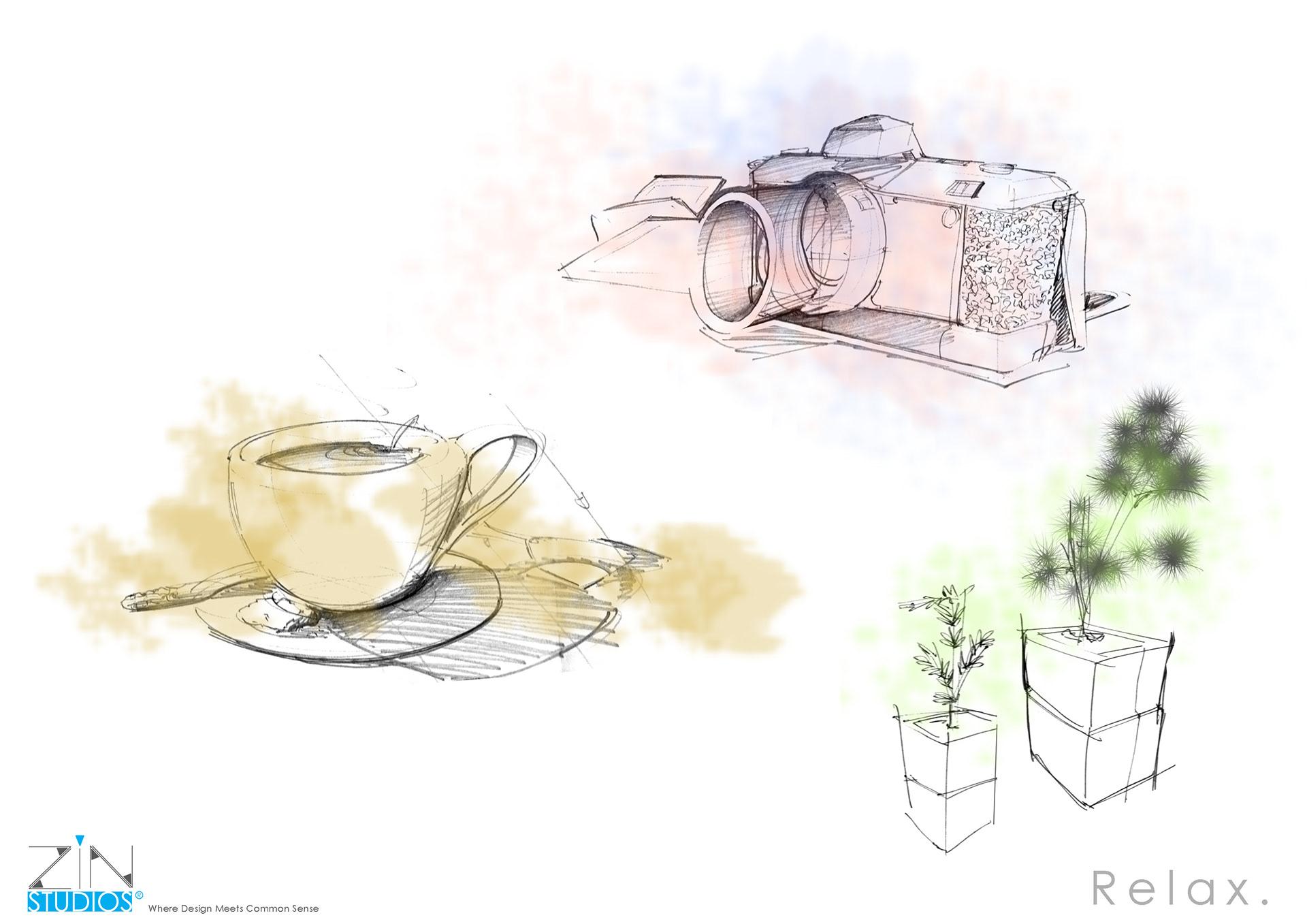 Kevin Chiam - Random Sketches + Marker/Digital Renderings