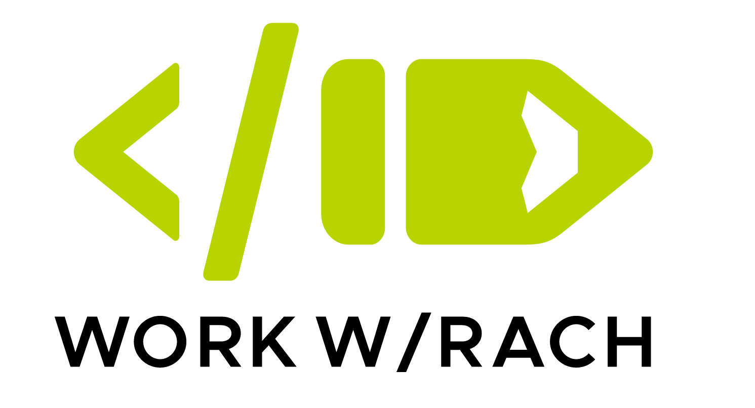 "Logo icon green end code bracket on left and a pencil on the right. The words ""Work W/ Rach"" underneath."
