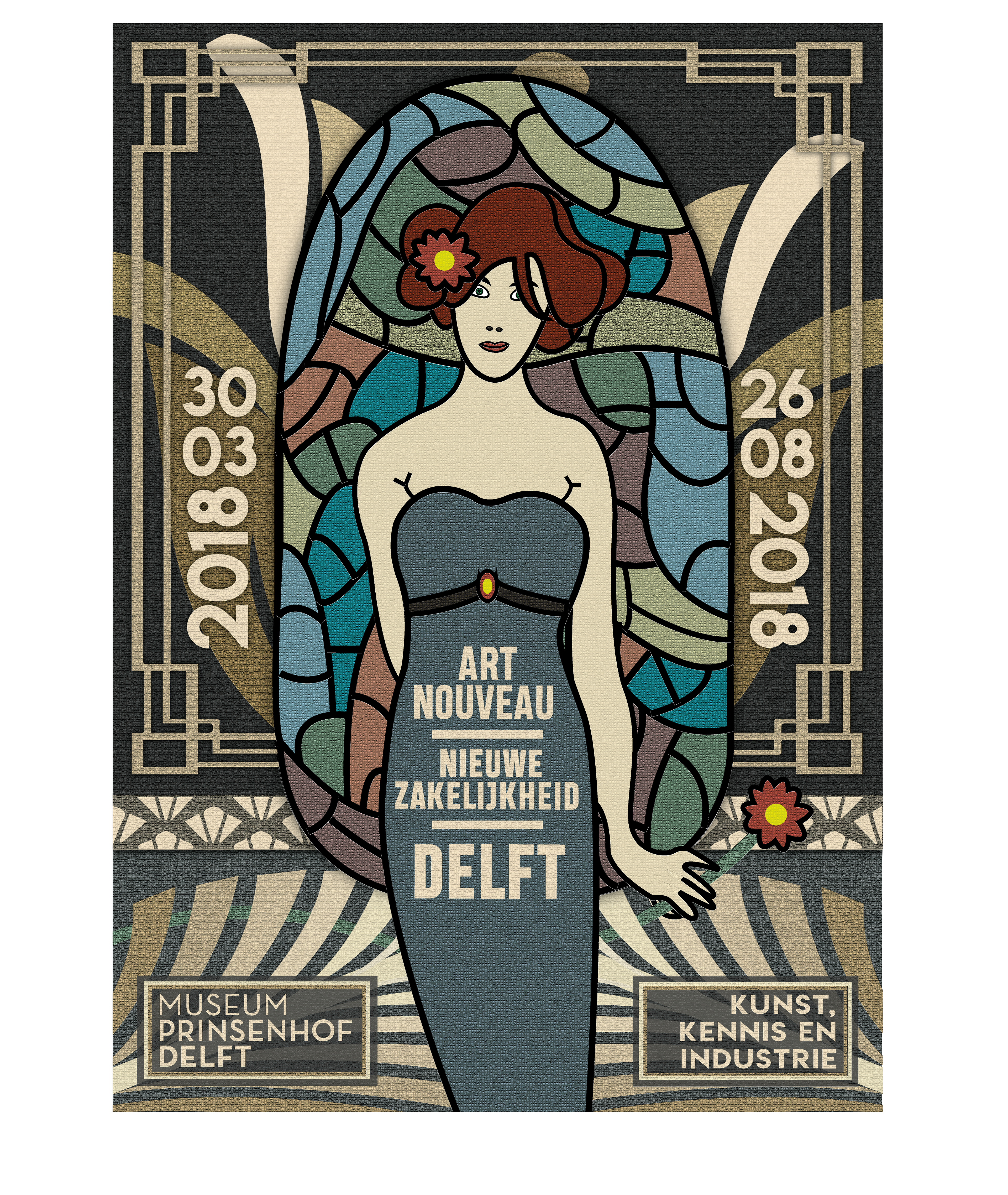 Victor hurks museumposter ive made a woman in art nouveau style with stained glass behind her and several objects from the art deco era like the gold lotus flower the frame izmirmasajfo