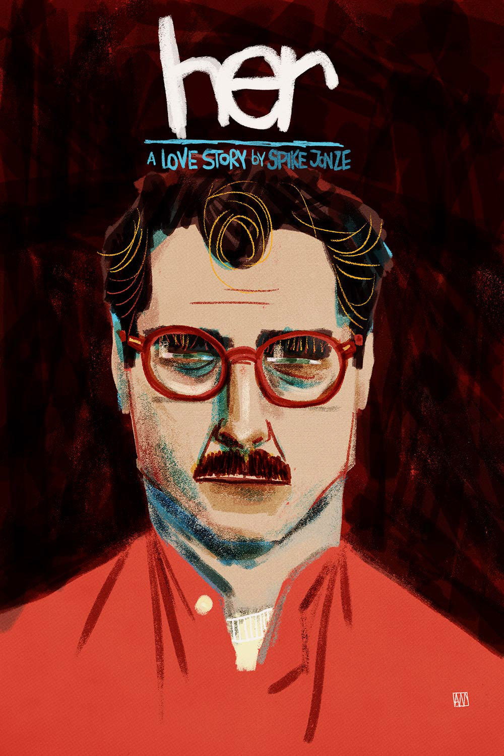 Alé Mercado Illustration - Her (2013) Spike Jonze Poster Fan Art