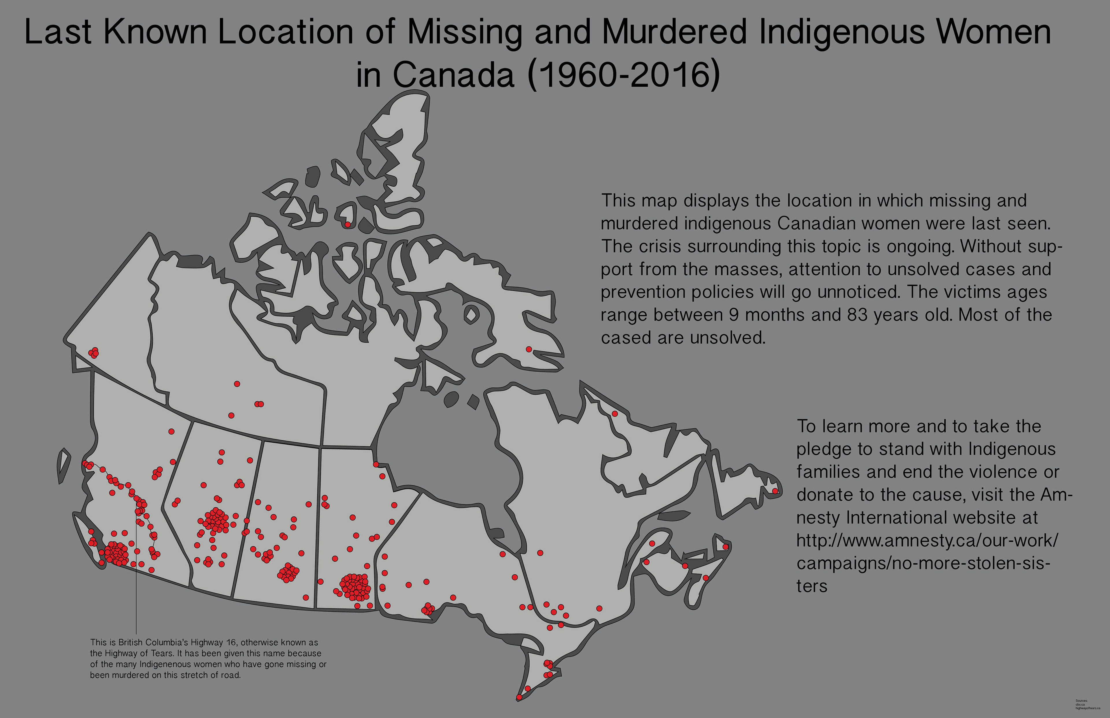 Elena Nessler - Highway of tears canada map