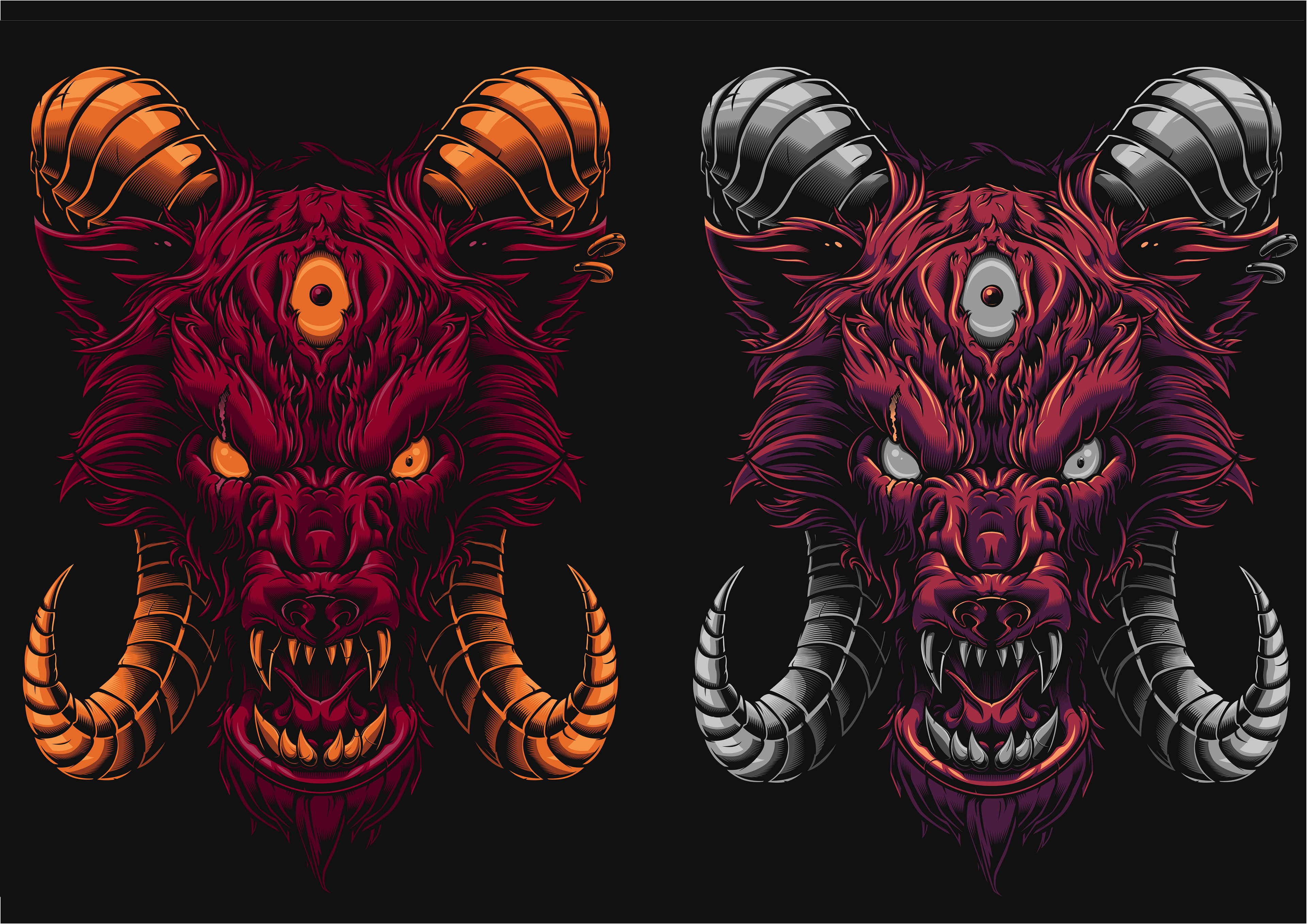 Metal T Shirt Design | Daniele Caruso Hell Hound Illustration T Shirt Design