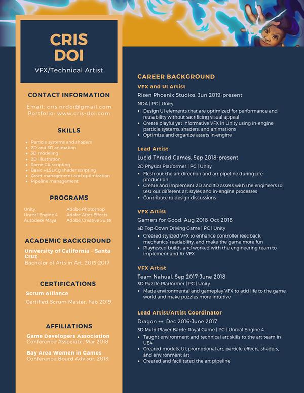 Cris Doi   VFX and Game Art Portfolio - Resume
