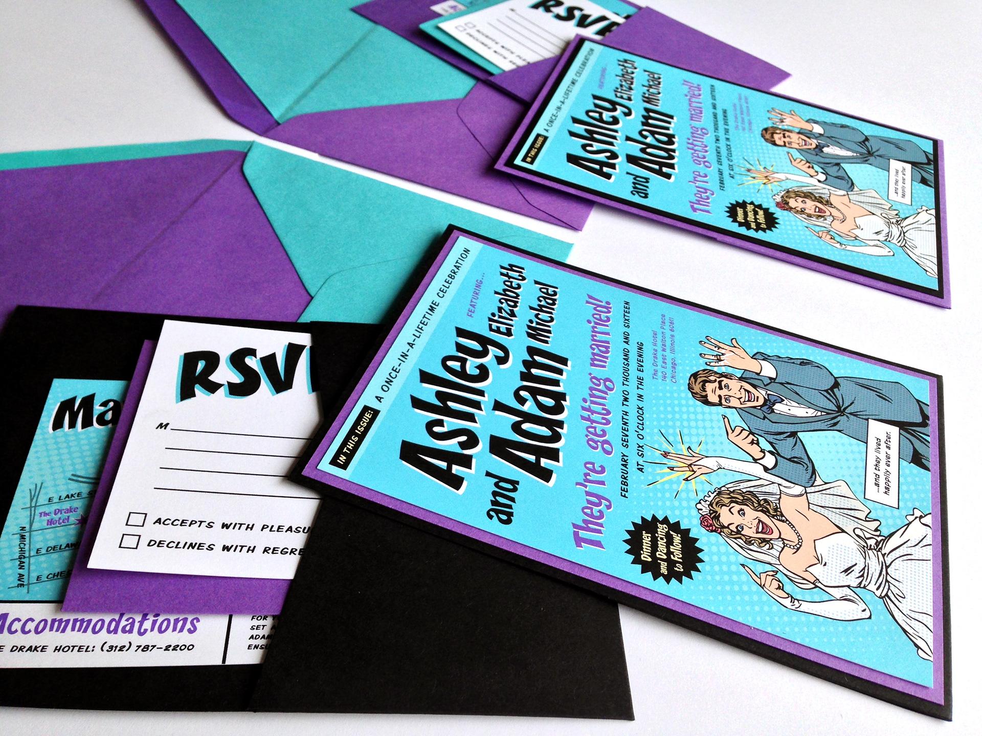 Marilyn Alli Design - Comic Book Wedding Invitations