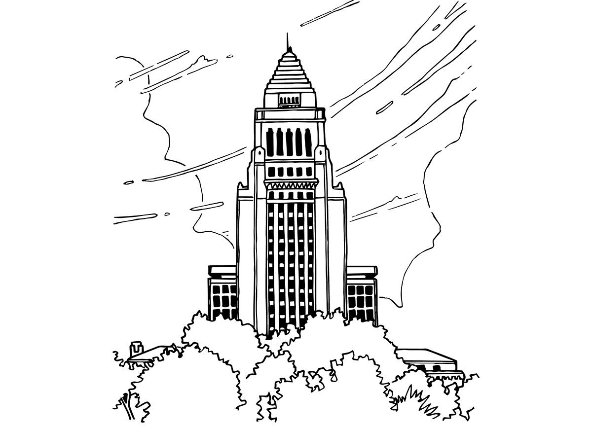 jason pearlman illustration clark los angeles building sketches