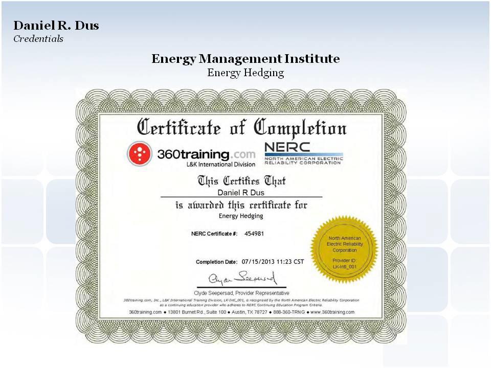 Daniel Dus Energy Hedging