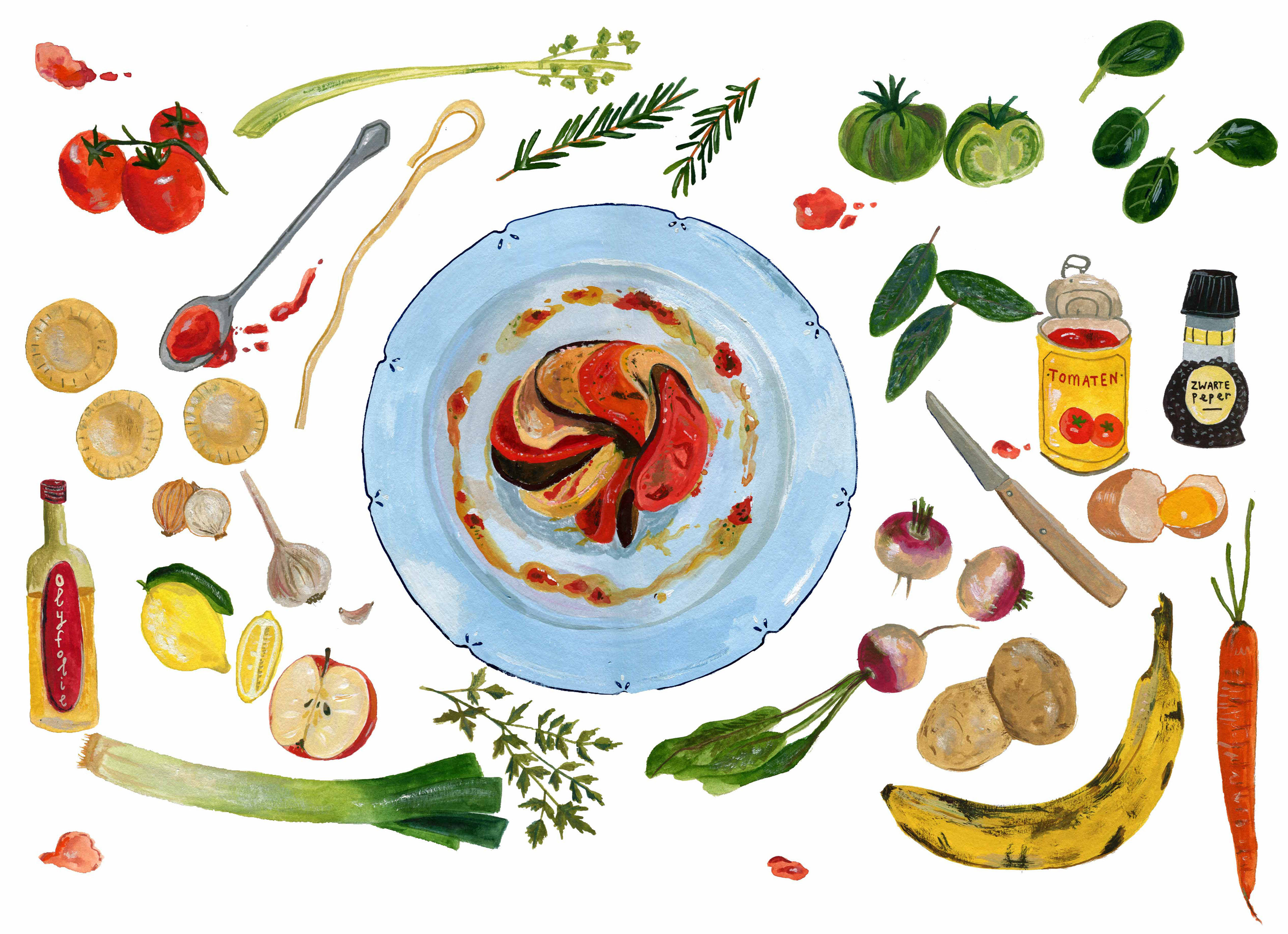 Anke knapper vegetarian food for de volkskrant illustration for an article about the dutch national week without meat with vegetarian recipes forumfinder Images