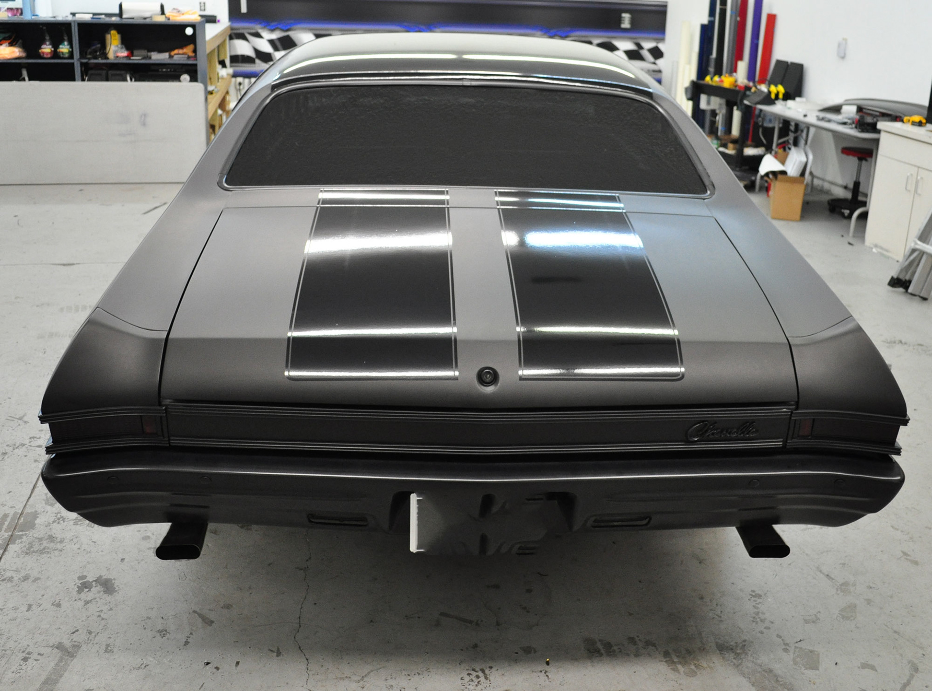 D Aa E D Dd F Rw on Chevelle Black With Gloss Matte Stripes
