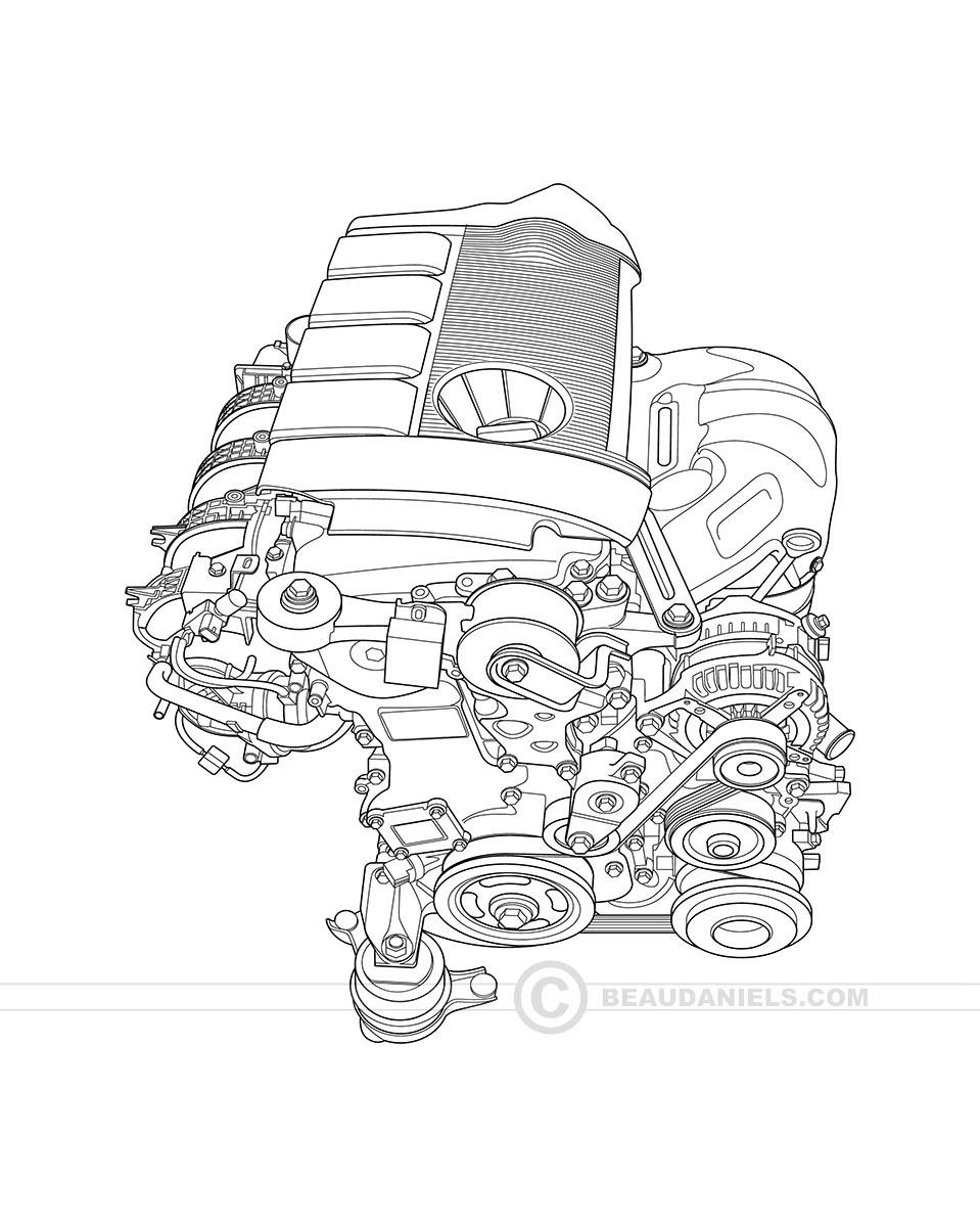 Technical illustration, Beau and Alan Daniels. - Generic car engines ...
