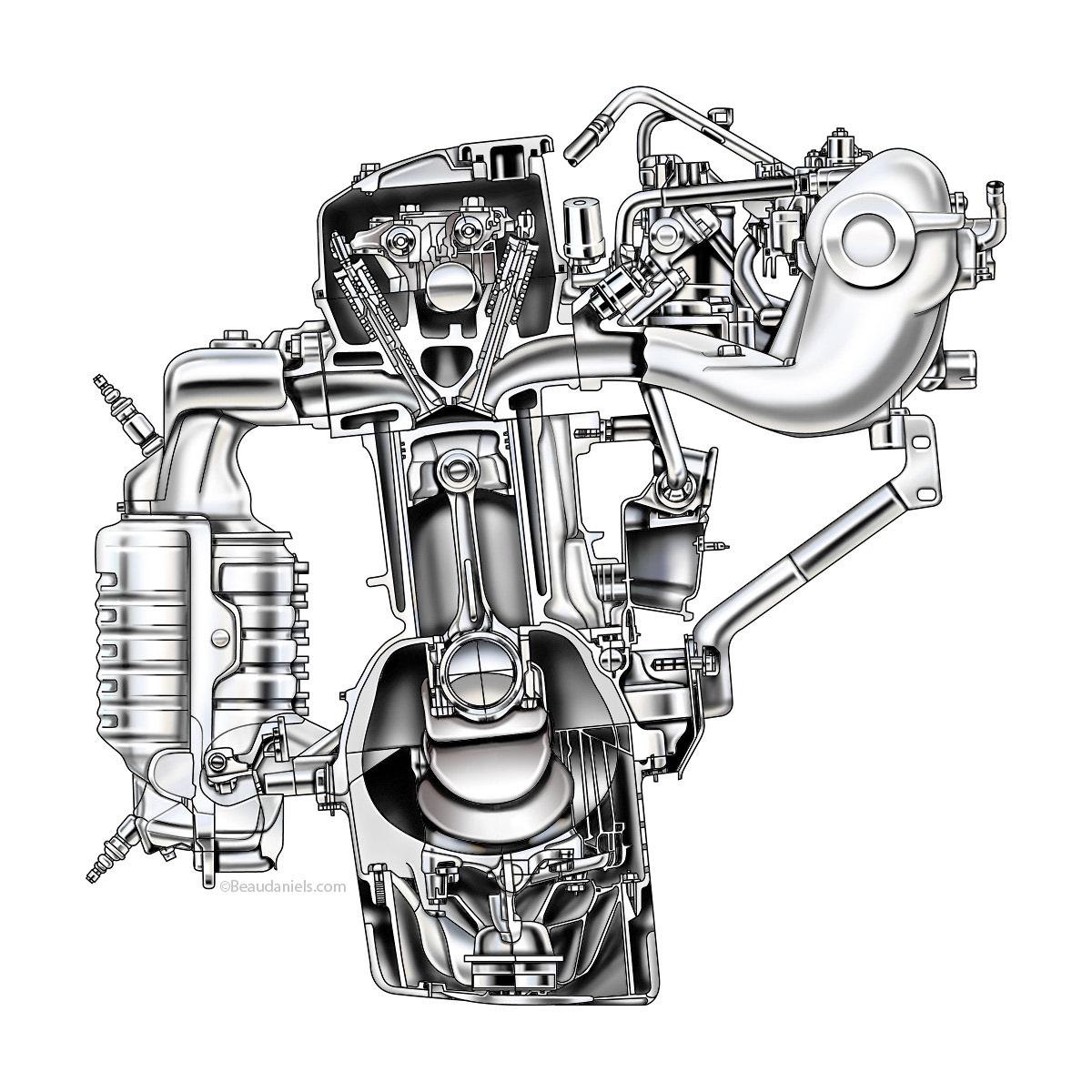 Technical illustration beau and alan daniels honda ulev vtec cross section honda gas engine malvernweather Gallery